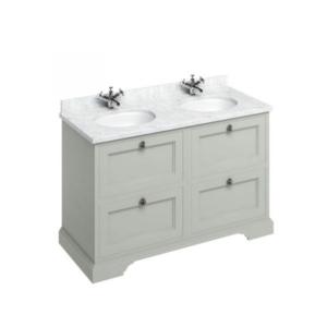 Fristående tvättställskåp med lådor 130 cm