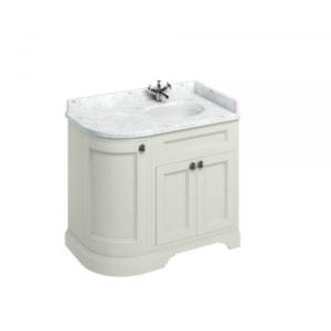 Fristående tvättställskåp med rundade hörn och dörrar 100 cm